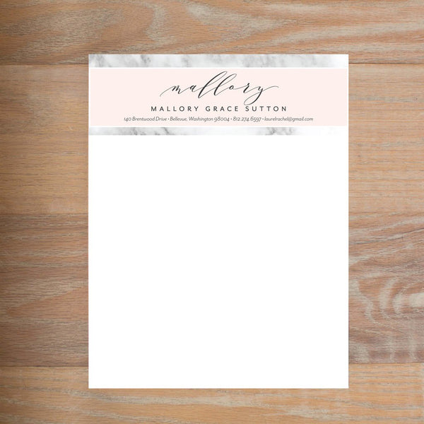 Marble Blush social resume letterhead without formatting shown in Black version 1