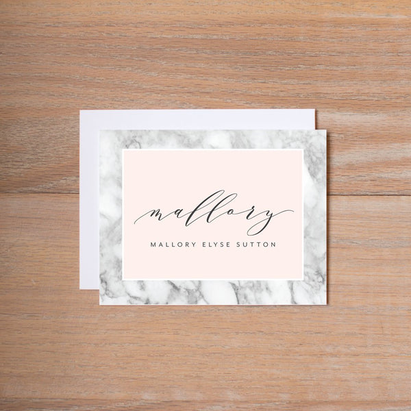 Marble Blush personal note card
