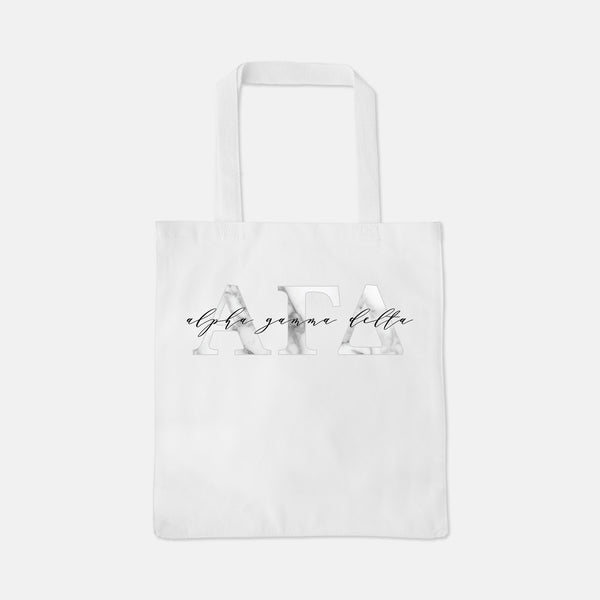 White tote with marble Greek letters