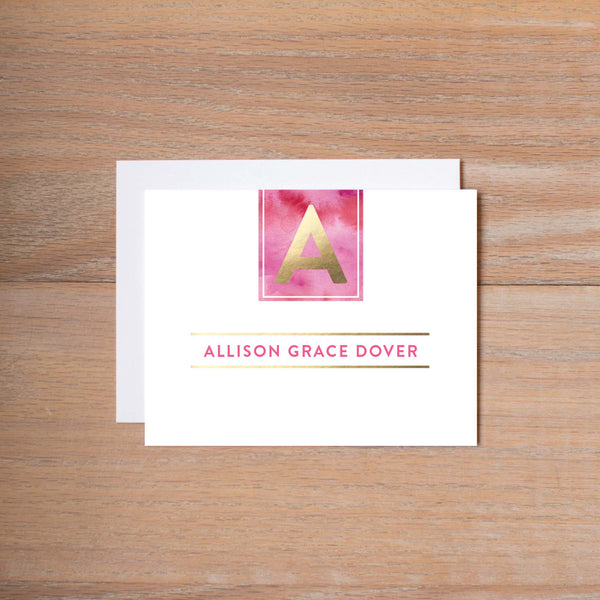 Modern Watercolor Folded Note Card shown in Peony