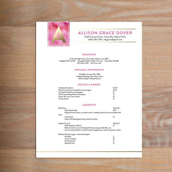 Modern Watercolor Fully-Formatted Sorority Resume shown in Peony