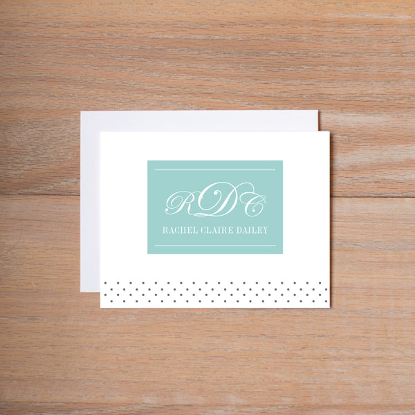 Monogram Block personal note card shown in Pool & Pewter