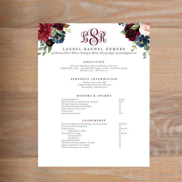Moody Garden social resume letterhead with full formatting shown in Wine