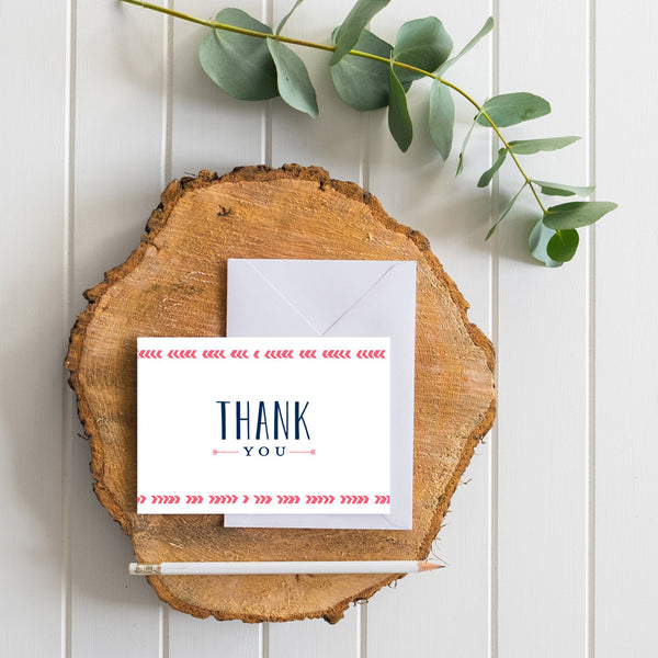 Boho Chic generic thank you cards in Strawberry
