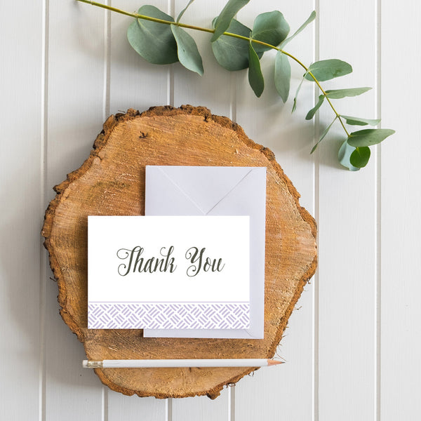 Hatched generic thank you cards in Plum