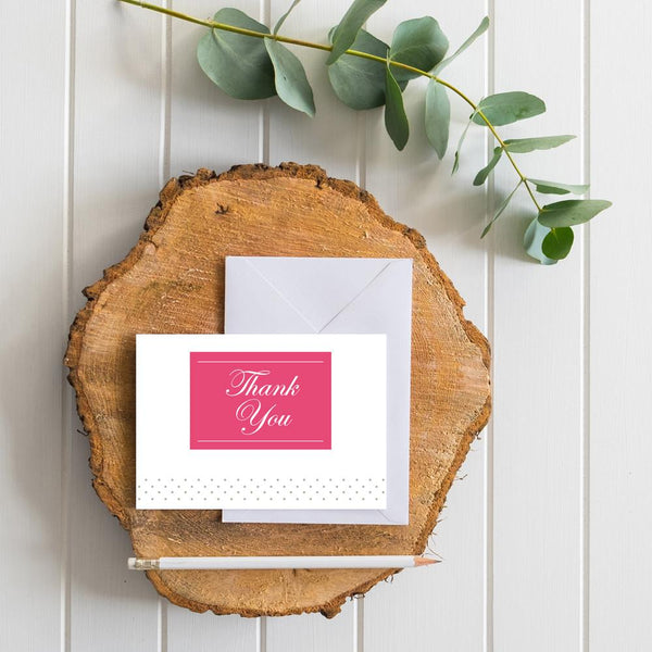 Monogram Block generic thank you cards in Fruit Punch