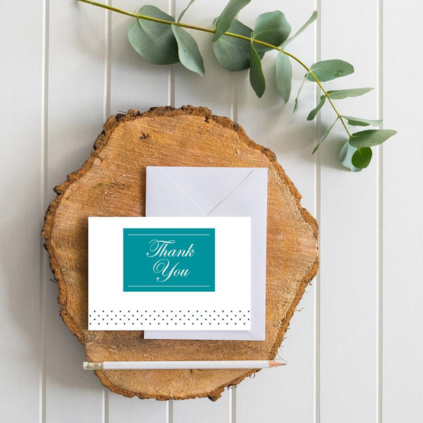 Monogram Block generic thank you cards in Peacock