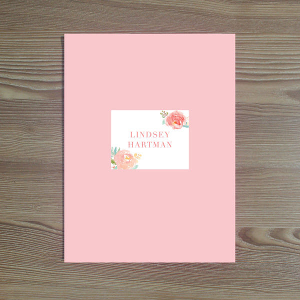 Peony Garden folder sticker shown on White pocket folder