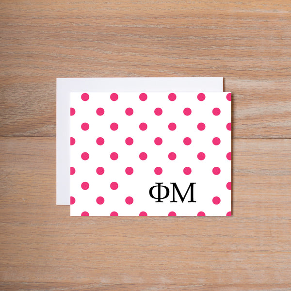 Phi Mu Dotted Sorority Note Cards