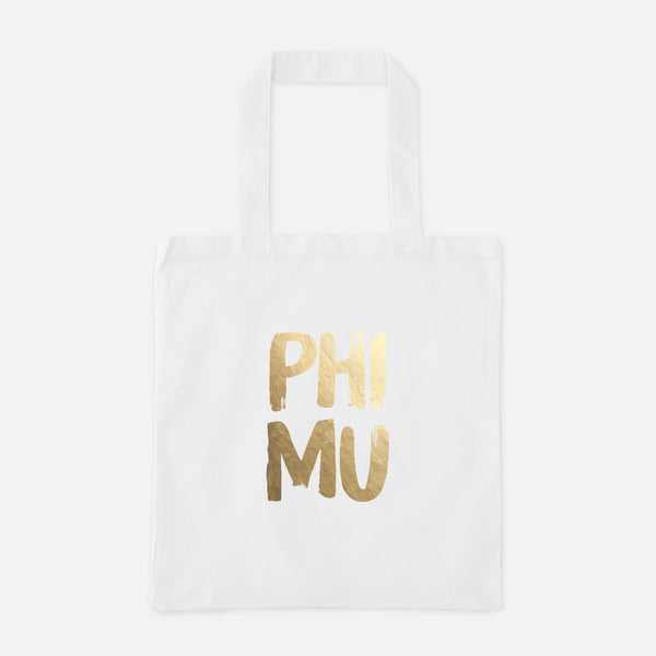 Phi Mu Gold Foil Greek Tote