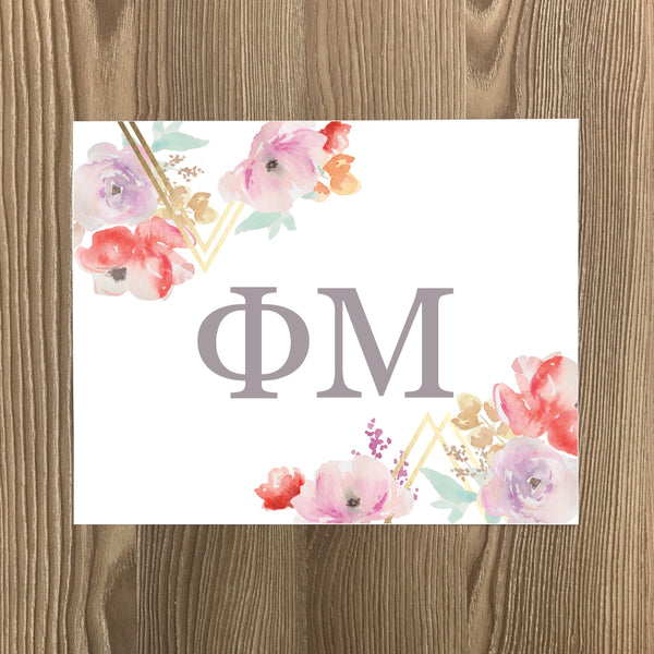 Phi Mu Geometric Bouquet Art Print