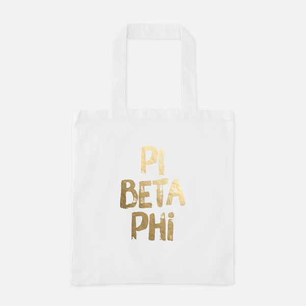 Pi Beta Phi Gold Foil Greek Tote