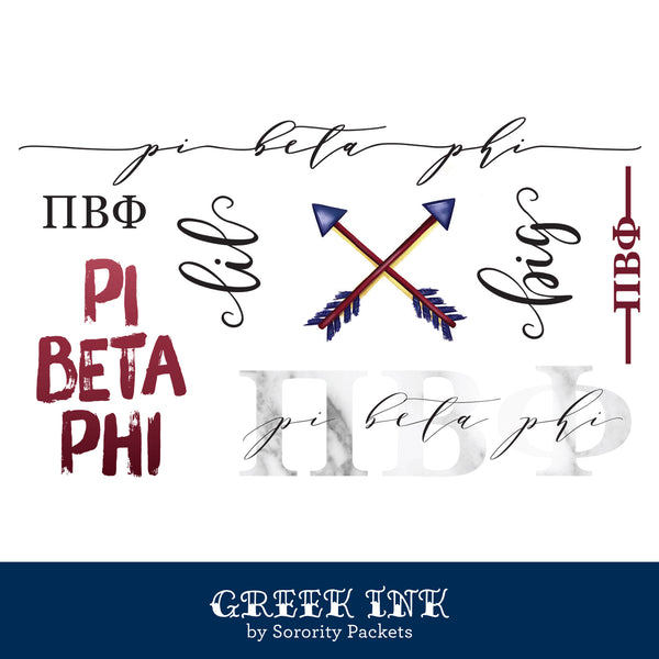 Pi Beta Phi Sorority Tattoo Set