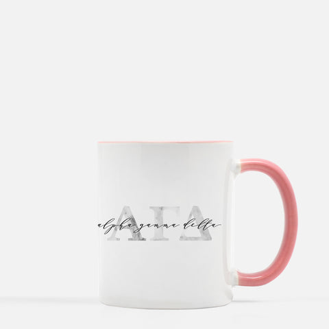 Alpha Chi Omega Marble & Blush Sorority Mug