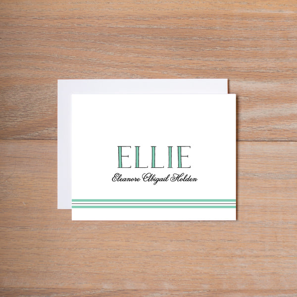Preppy Name personal note card shown in Sea Glass & Pewter