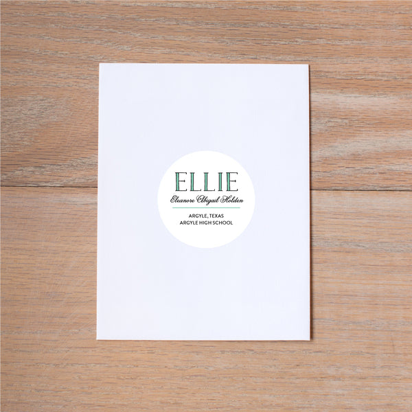 Preppy Name personal sticker shown in Sea Glass & Pewter