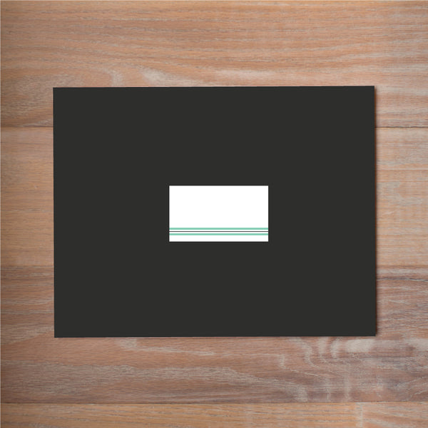 Preppy Name sorority packet mailing label shown in Sea Glass & Pewter on Black presentation envelope