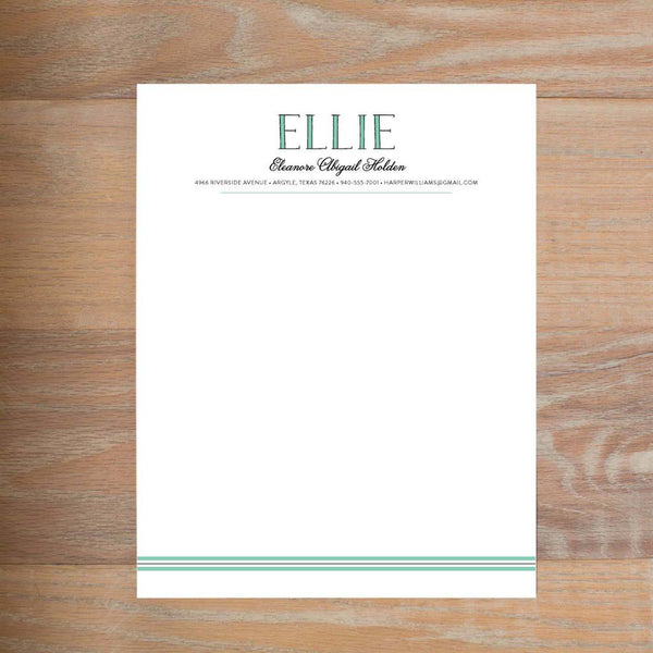 Preppy Name social resume letterhead without formatting shown in Sea Glass & Pewter