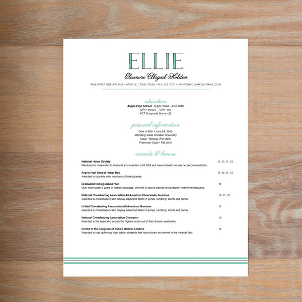 Preppy Name social resume letterhead with full formatting shown in Sea Glass & Pewter