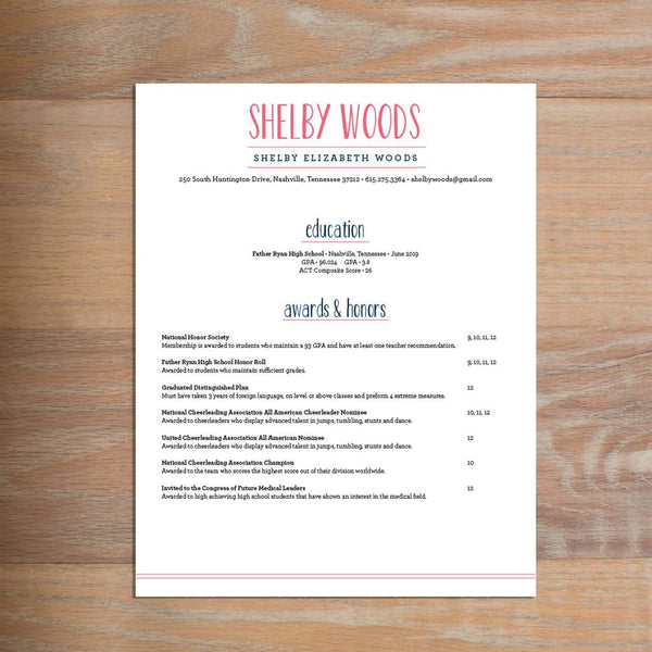Simply Preppy social resume letterhead with full formatting shown in Strawberry & Night
