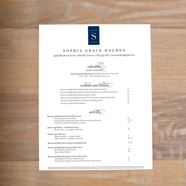 Chic Initial resume shown with full formatting