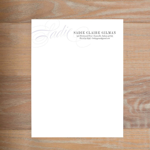 Elegant Script social resume letterhead without formatting shown in Plum