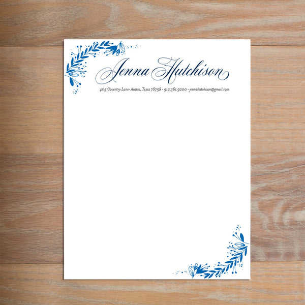 Garden Branches social resume letterhead without formatting shown in Cobalt