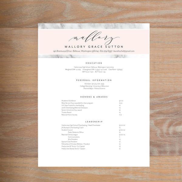 Marble Blush resume shown with full formatting