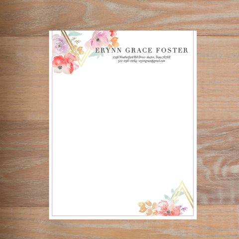 Geometric Bouquet social resume letterhead without formatting