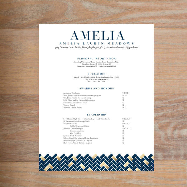 Golden Herringbone social resume letterhead with full formatting