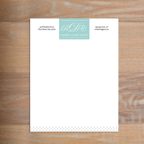 Monogram Block social resume letterhead without formatting shown in Pool & Pewter