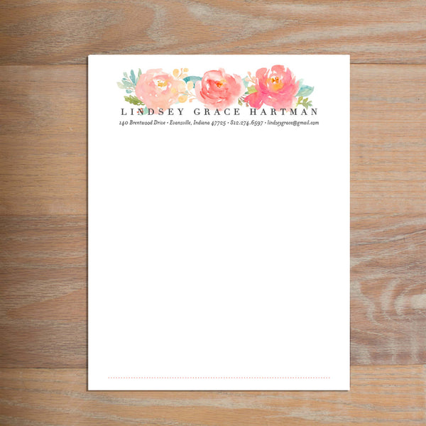 Peony Garden social resume letterhead without formatting