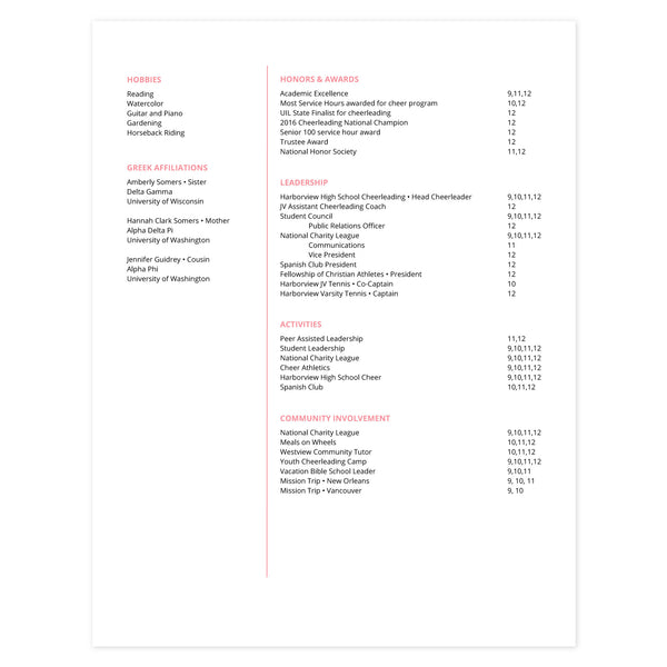 Strawberry Multi-page resume (2nd page) template