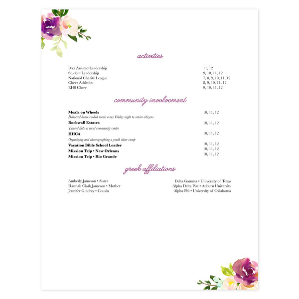 Multi-page resume (2nd page) template