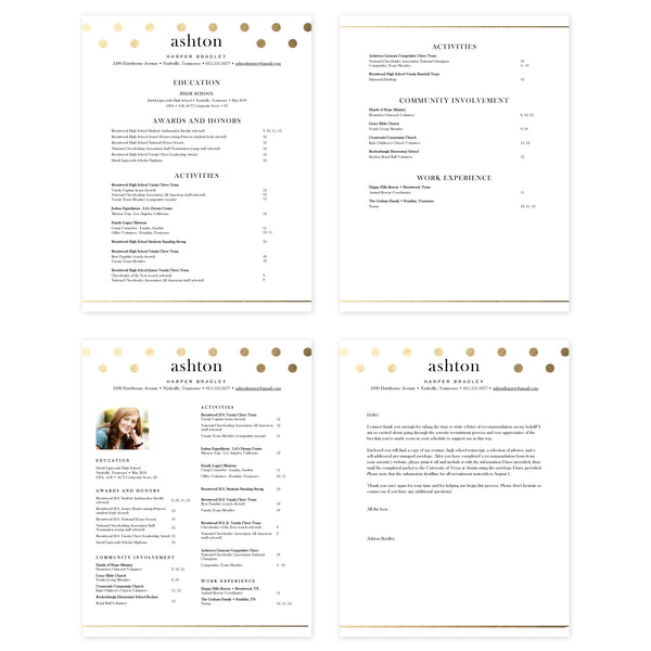 Golden Dots Microsoft Word Resume Templates