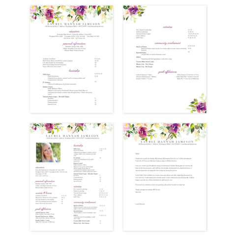 Graceful Bouquet Microsoft Word Resume Templates