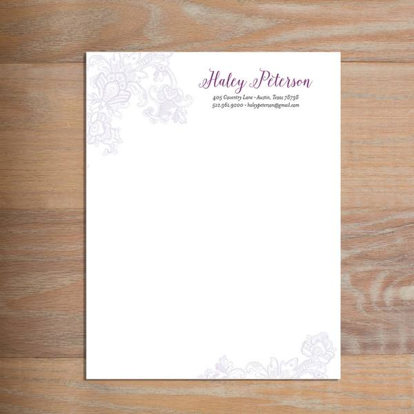 Delicate Lace social resume letterhead without formatting shown in Grape & Plum