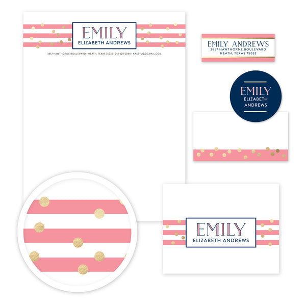 Confetti Stripes Stationery Set - Large