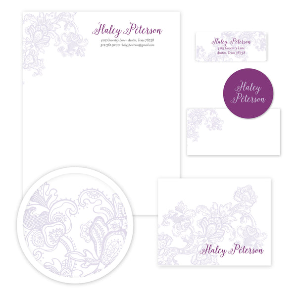 Delicate Lace Stationery Set - Large