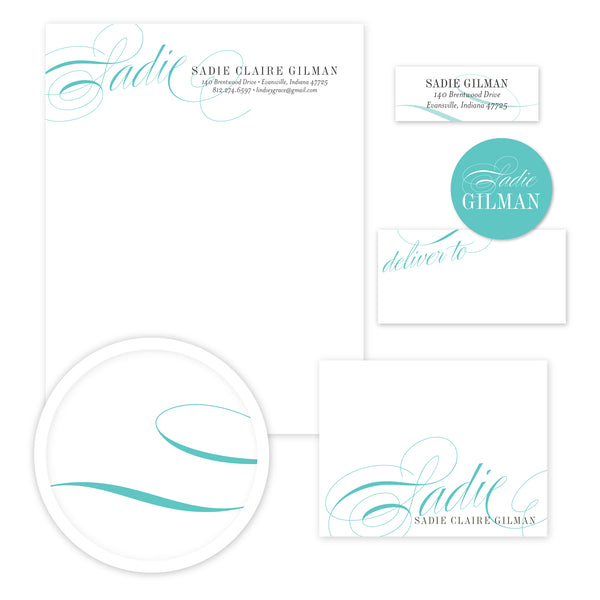 Elegant Script Stationery Set - Large