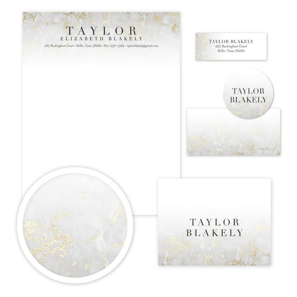 Golden Marble Stationery Set - Large