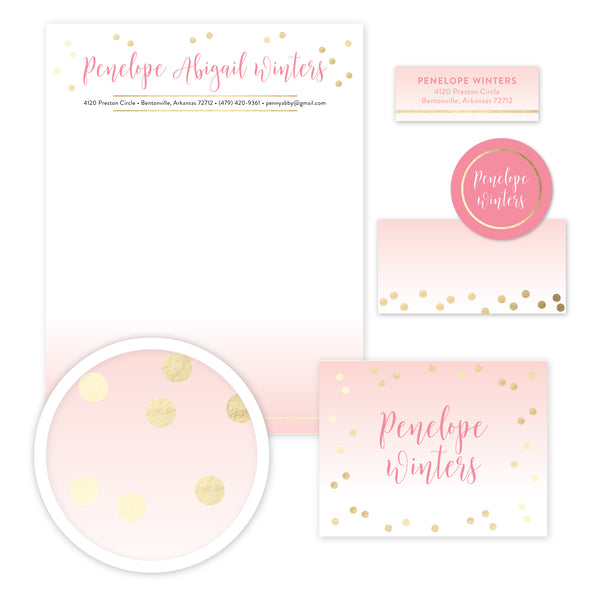 Gradient Confetti Stationery Set - Large