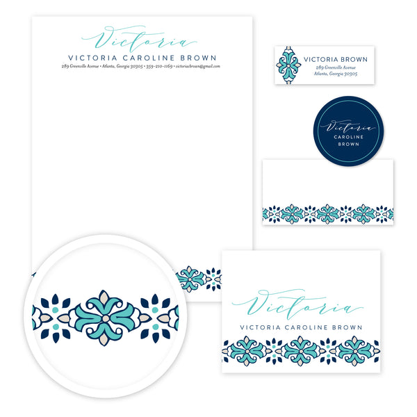 Tile Border Stationery Set - Large