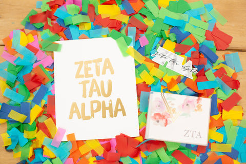 Sorority Bid Day Stationery Set Overview | Pick your favorite Greek note card set, art print, and vinyl sticker!