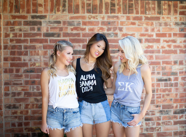 Marble + Graphic + Gold Foil Sorority Tanks