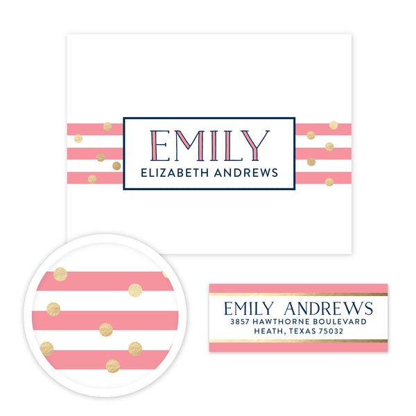 Confetti Stripes Stationery Set - Small
