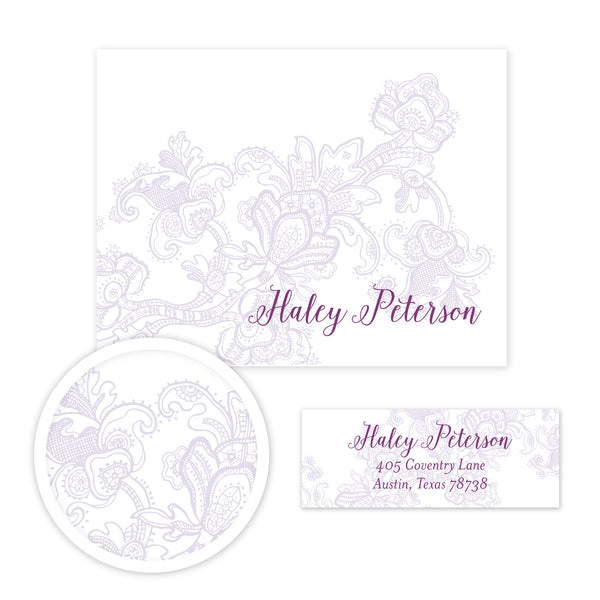 Delicate Lace Stationery Set - Small