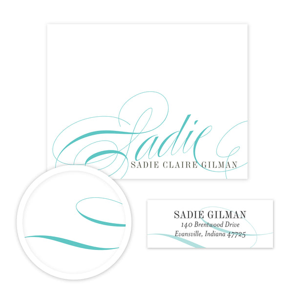 Elegant Script Stationery Set - Small