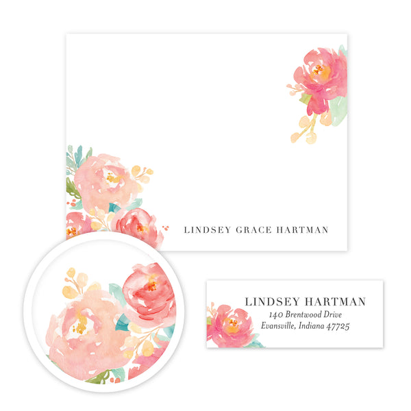 Peony Garden Stationery Set - Small