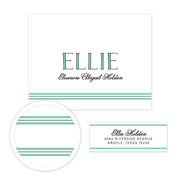 Preppy Name Stationery Set - Small